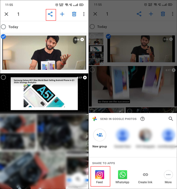Google Photo's post to Instagram option
