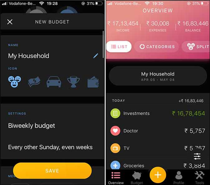 Buddy- create customized budgets on iPhone