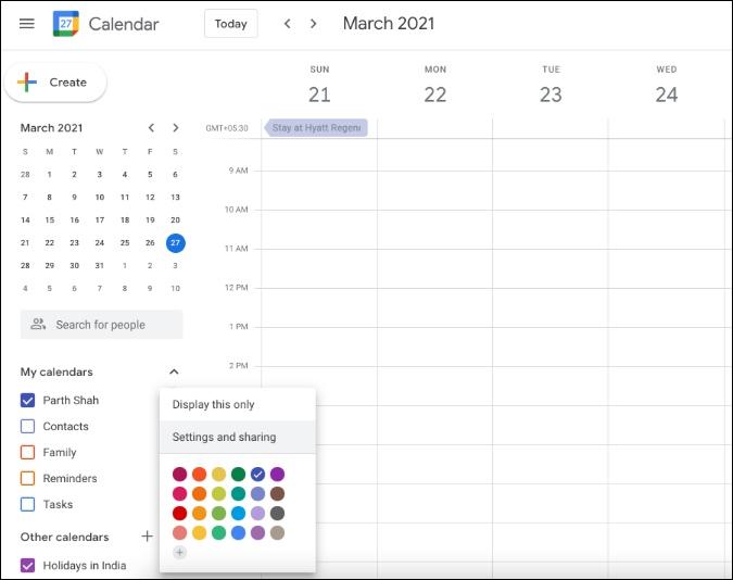 google calendar settings on web