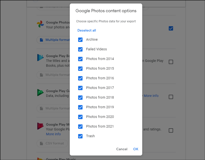 select all albums in google photos in takeout option