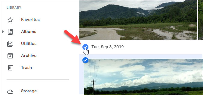 choose images from particular date in google photos