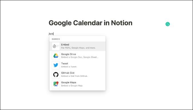 embed google calendar in notion