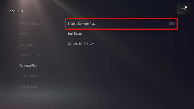 enable remote play in PS5