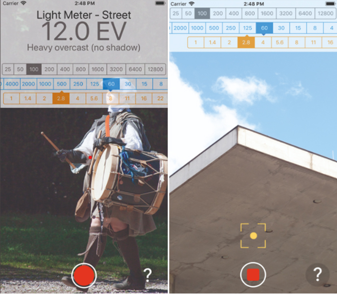 light meter aperture and light values on ios