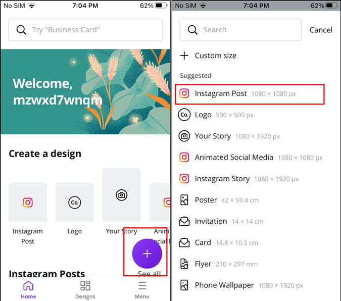 Canva's canvas size options
