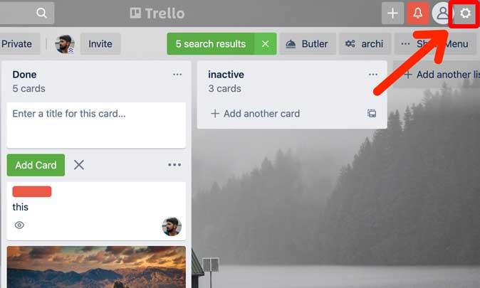settings button in Trello