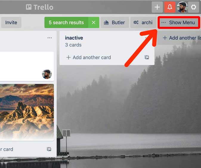 show menu button in Trello app