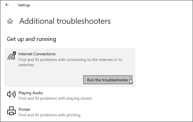 use troubleshooters to fix slow internet on windows 10