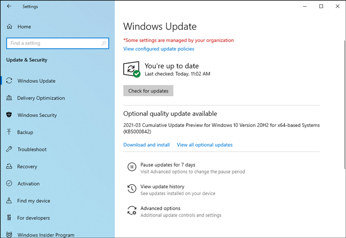 some settings are managed by your organization error in windows 10
