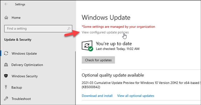 find configured windows update policies on windows 10