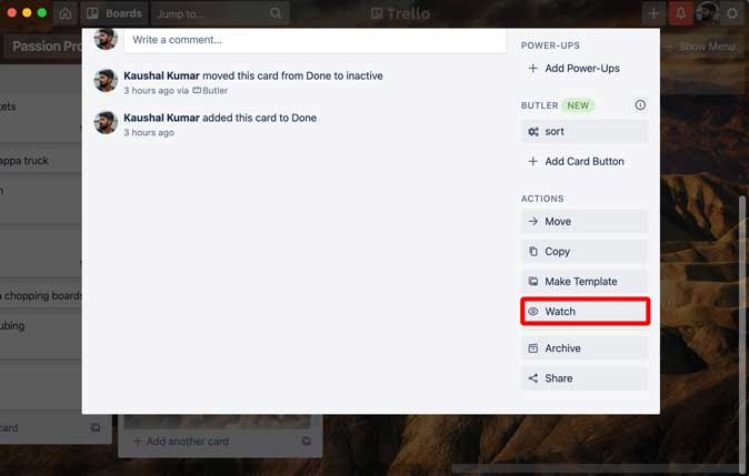 watch all activity in Trello card