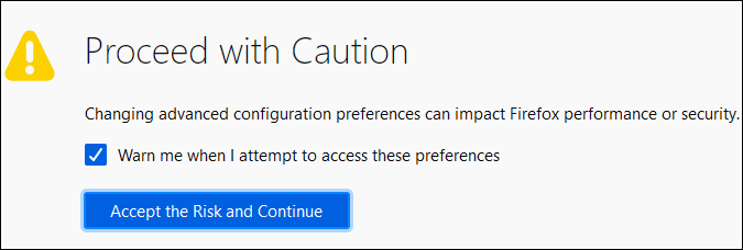 firefox preferences warning message