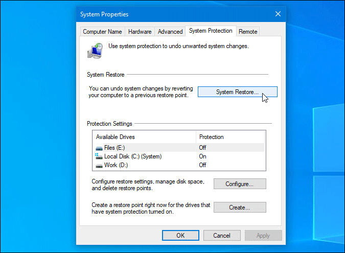 use system restore point in windows 10