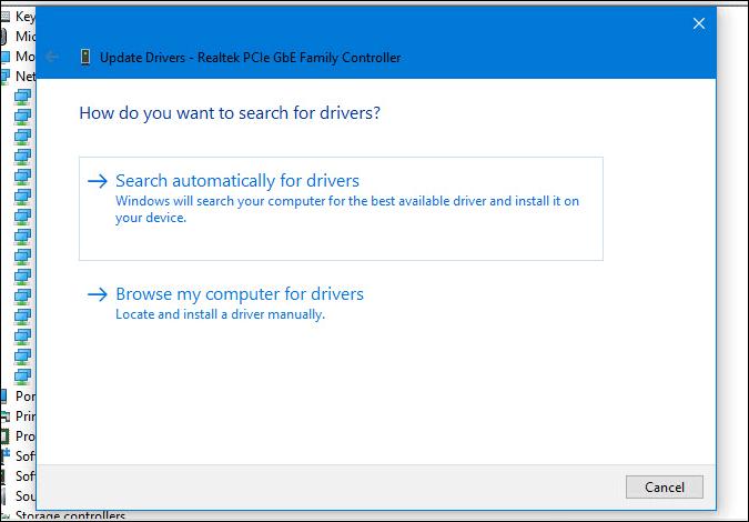 choose network driver update in windows 10