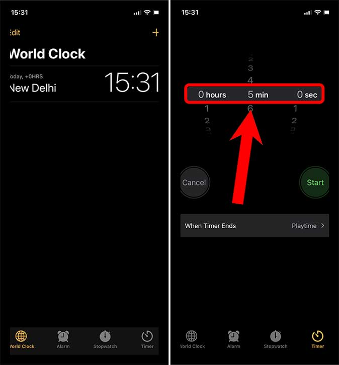 Set a Timer in the Clock app