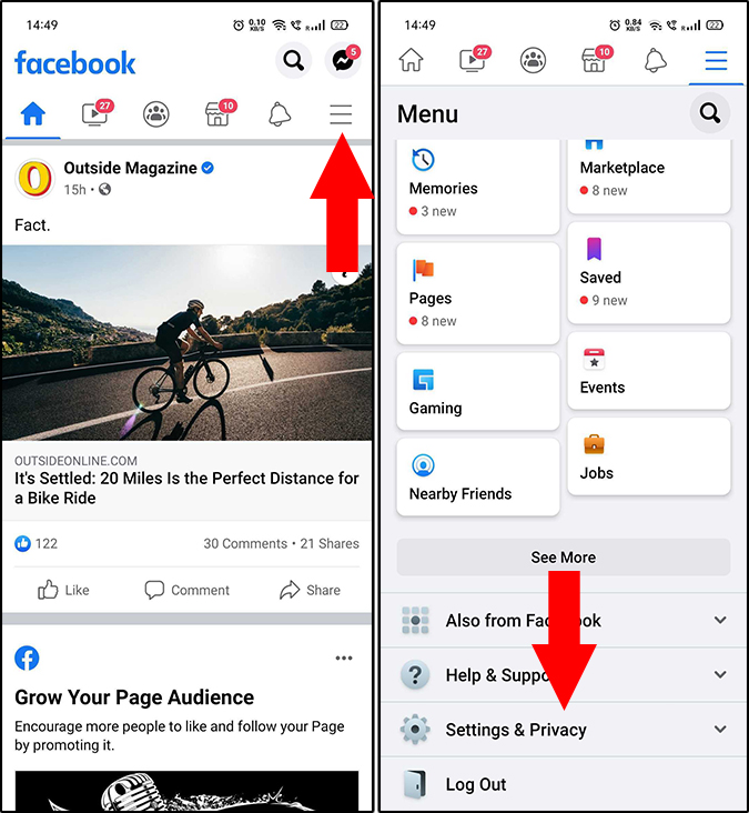 Facebook app's Settings & Privacy option