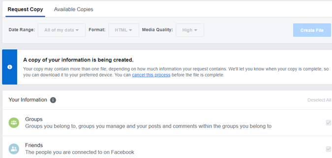 How to request a copy of Facebook data