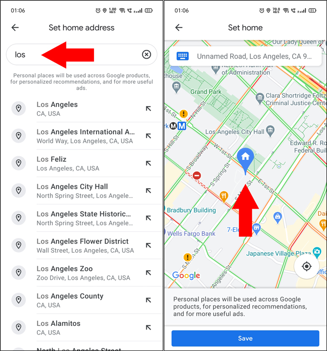 Add a new home address to Google Maps
