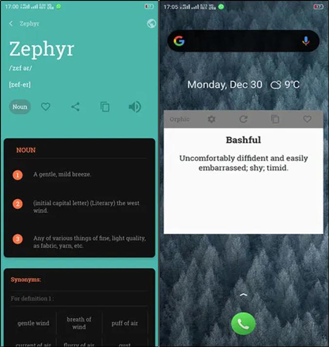 Orphic vocabulary builder app