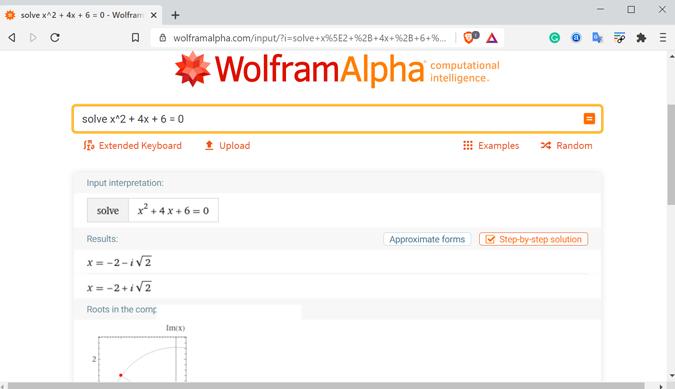 WolframAplha math solver site