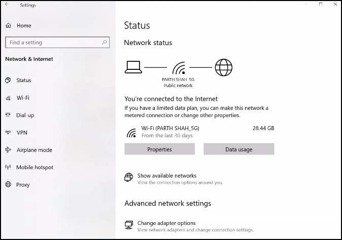check internet connection in windows settings