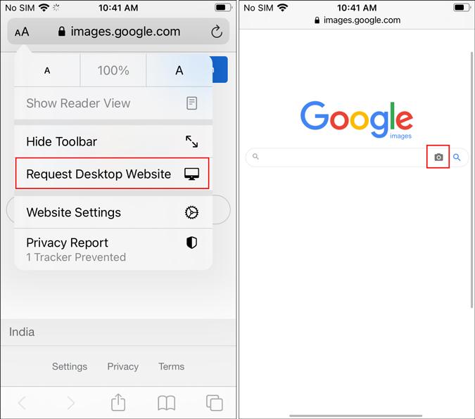 Safari's Request Desktop version on iOS