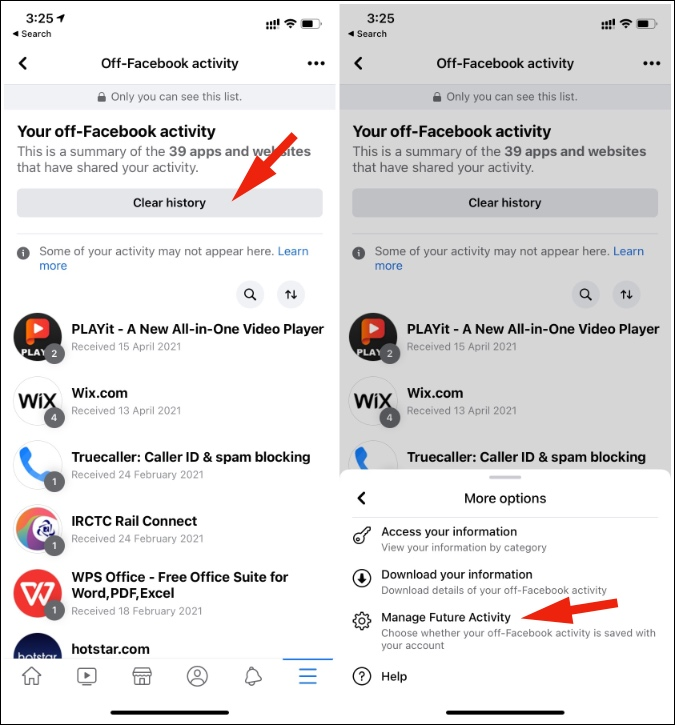 manage facebook future activity
