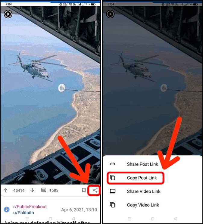 copy post link of an Reddit post