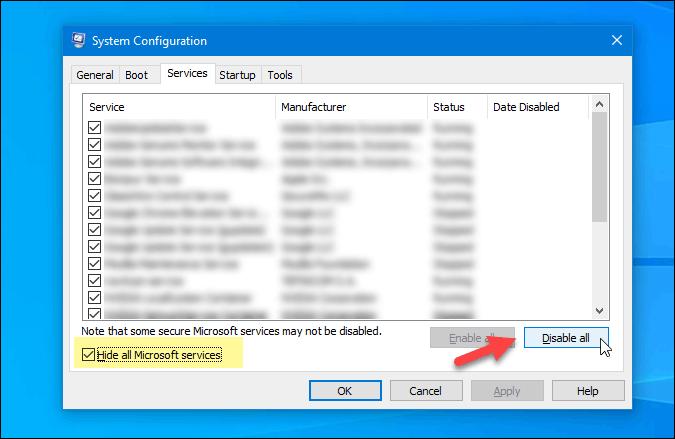 disable all non microsoft service windows 10