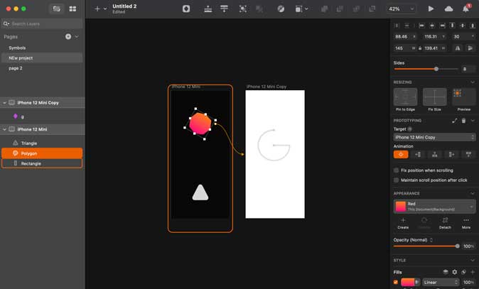 sketch prototyping settings with multiple pages linked