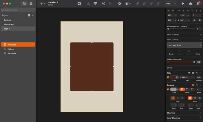 sketch interface with dark mode enabled