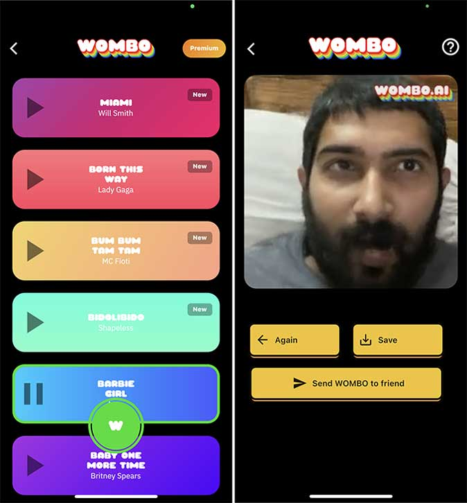 wombo- talking photo apps