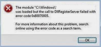 windows update error code 0x80070005 DllRegisterServer