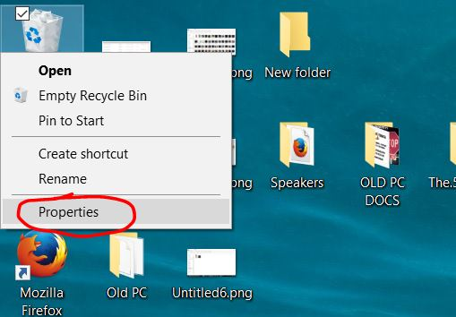 how to turn off recycle bin windows 10