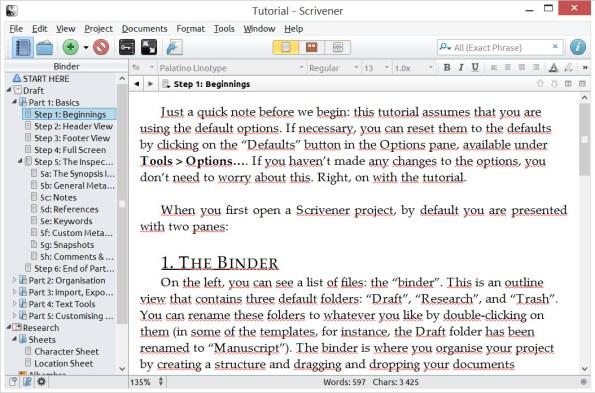 Scrivener - widok klasyczny