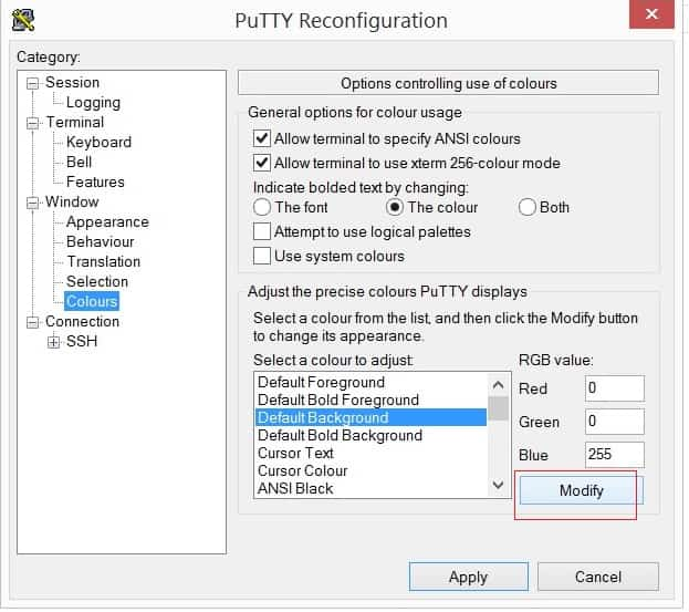 how to change putty text color