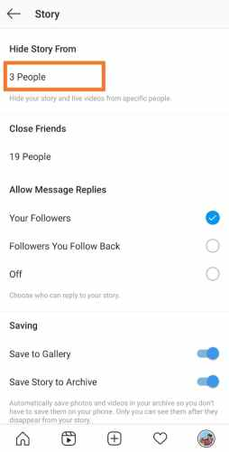 Hide Instagram stories from someone