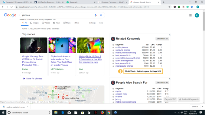 search result in google