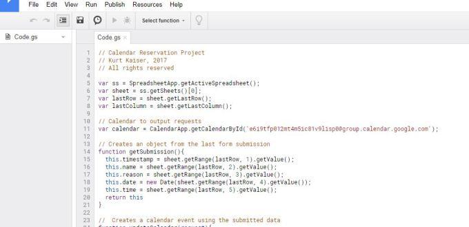 google apps script calendar reservation code