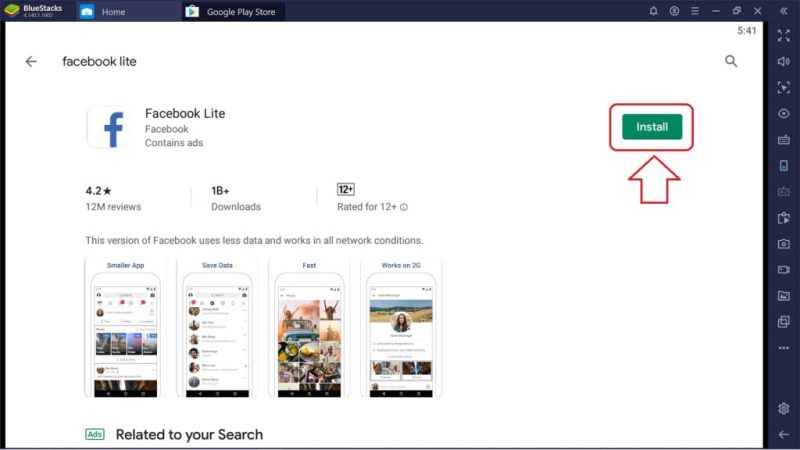 click on the install button 1024x576 - Facebook Lite For PC – Download For Windows