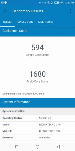 Tecno Camon CM Geekbench Benchmark Score