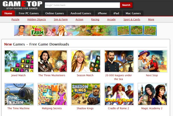 Gametop.com is one of the best websites to download PC games for Free