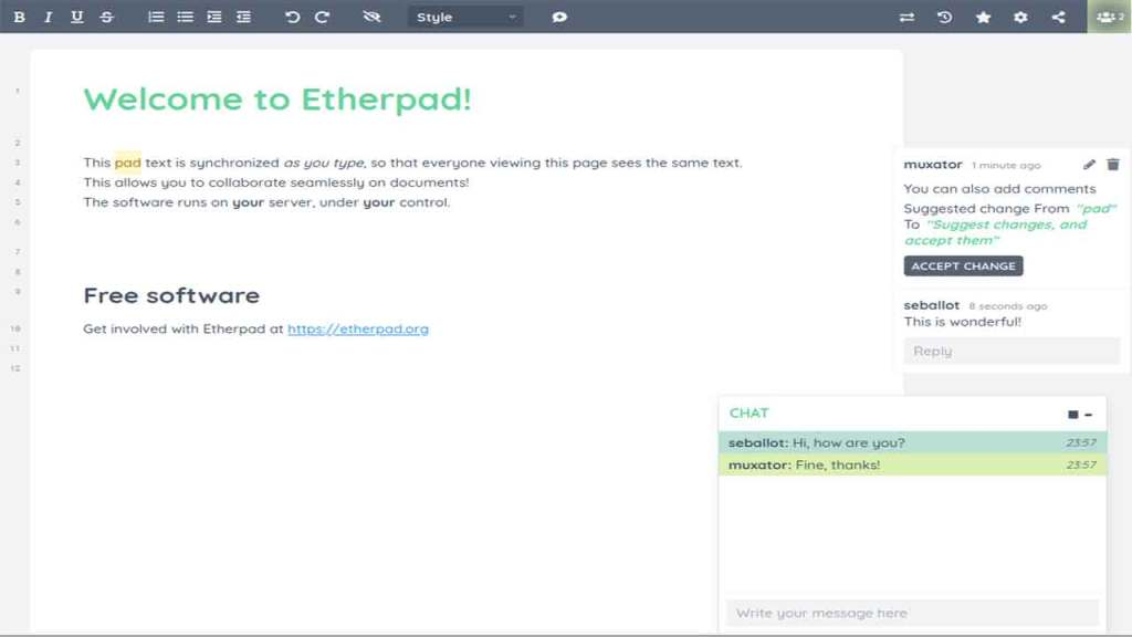 Etherpad is one of the best websites to edit your docs on-the-go