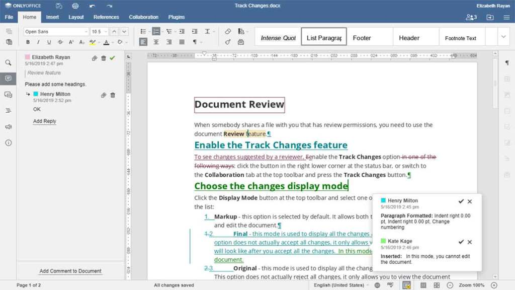 Only Office is one of the best google docs alternatives to write & edit your documents
