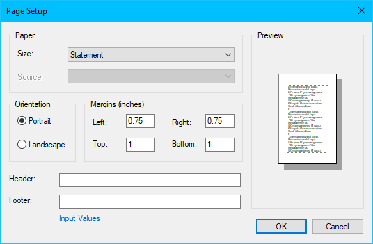 page setup in notepad