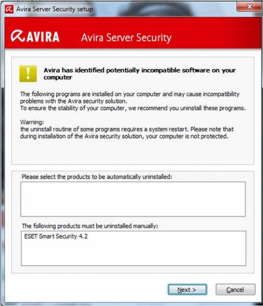 Avira Server Security 120 Incompatible Software Report