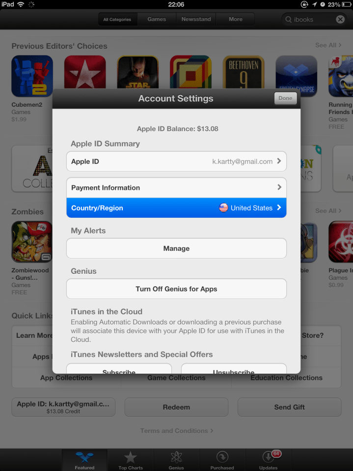 Change iTunes Store Account Country/Region