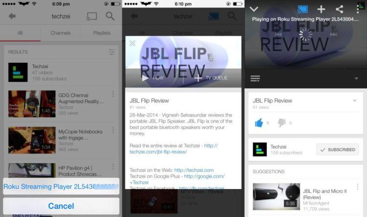 YouTube Casting - Roku Streaming Stick