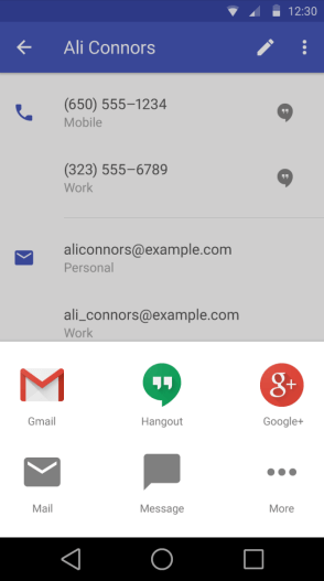 Contacts - Android L User Interface - Techzei