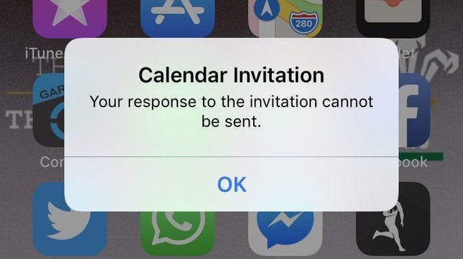 Calendar Invitation Cannot Be Sent